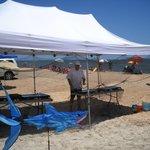 "Tours begin under the ""Shark Tent"" on Vilano Beach"