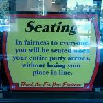 The Shack's Seating Policy