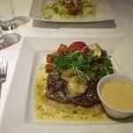 Rib eye surf and turf