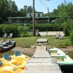 from the dock on Lake duhamel, looking at the motel
