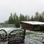 Cabin in the snow--view from the main house