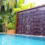 The waterfall at the pool.