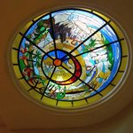 Stained-glass skylight in the lobby stairs
