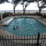 The outdoor pool under Live Oaks with beach view.