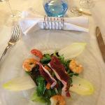 salade de gambas avec magret