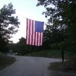 flag hanging in park for the 4th