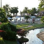 Jardin vue sur la piscine et la plage
