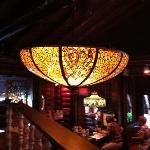 Tiffany lamps hang everywhere!