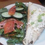 Aladdin's Eatery Spinach Feta Pita and Salad