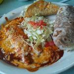 The #5 C Cheese onion enchilada, Beef Taco and Red Chili Burro