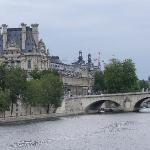 View from bridge one block from hotel. The Louvre across the river