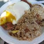 Breakfast Plate with Fried Rice and Corned Beef