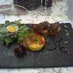 Rôtie de pigeon et flan de foie gras