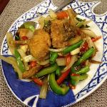 stir-fried sea food with pepper onion bamboo shoots basil leaves fresh pepper