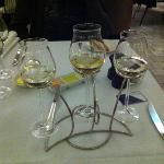 'wine flight' sampling NZ, French, and South Australian Sav Blanc