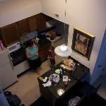 View of the living area from above, the coffeepot is ours, theirs was a small 4-cup Sunbeam