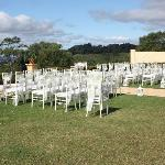Tiffany chairs with sashes ready for the guests