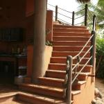 Stairs leading to the yoga area