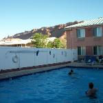 We loved the large pool and pretty rocks all around the motel