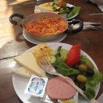 Traditional breakfast and Menemen