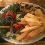 Steak, chips and salad.