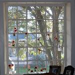 whimsical window in the dining room