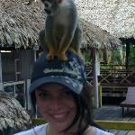 Turista posando con micos en la Isla de los Micos