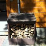 The firewood bin outside chalet Rhea.