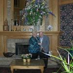 Carol & Dad (Chester) enjoying the beautiful floral piece