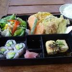 Vegetarian lunch box come with rice and miso soup