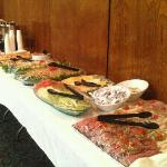 Before the party started... Cold cuts, relish tray, potato salad, pasta salad, fruit tray and