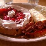 Belgian waffle with bacon and eggs. Excellent!