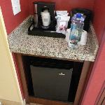 Frig & Coffee Maker Area