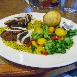 Cajun-seard tuna over yellow rice