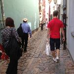 One of the narrow streets with our guide and part of our group