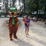 Yogi visiting the kids around the campgrounds.
