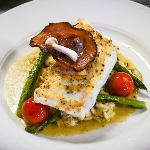 Fresh citrus-brined halibut, wild mushroom risotto and locally farmed vegetables (July 2012)