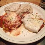 lasagna, chicken Parmesan & garlic mashed potatoes