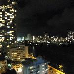 Night view of Honolulu from room door
