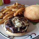 Bison burger and homemade fries - the grilled bun was nice (I asked for grilled onions...mmmm)