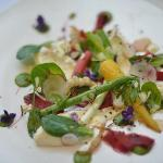 Warm salad of winter vegetables, tarragon vinaigrette, garden herbs, pomegranate molasses, Red H