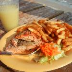 Salmon, Fries, and an Icy Lemonade
