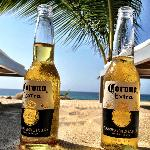 Cerveza Mas Fina and beach chairs- pretty much heaven