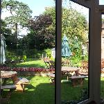 The lovely garden can be viewed from the bar and restaurant.