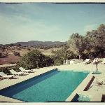 the pool overlooking the hills of the Sierra Norte