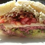 Pittsburg Steak Burger with Fries - Med-Rare Ordered