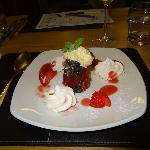 Jellied fruit with meringues and chantilly cream