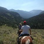 Riding through wilderness at Flat Creek Ranch