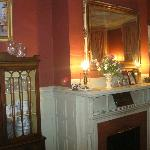 A view of the dining room mantle