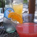blood orange martini and Italian soda on the patio